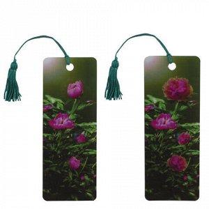 """Закладка для книг с линейкой, 3D-объемная, BRAUBERG """"Цветы"""", с декоративным шнурком, 128099"""