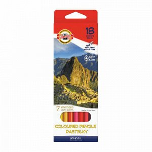 """Карандаши цветные KOH-I-NOOR """"7 чудес света"""", 18 цветов, грифель 3,2 мм, заточенные, картонная упаковка с европодвесом, 3653018027KSRU"""