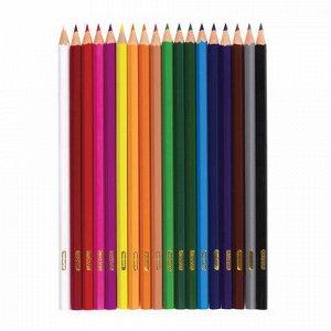 """Карандаши цветные ПИФАГОР """"ЖИРАФ"""", 18 цветов, пластиковые, классические заточенные, 181251"""