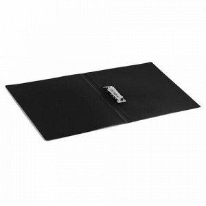 Папка с боковым металлическим прижимом BRAUBERG стандарт, черная, до 100 листов, 0,6 мм, 221630