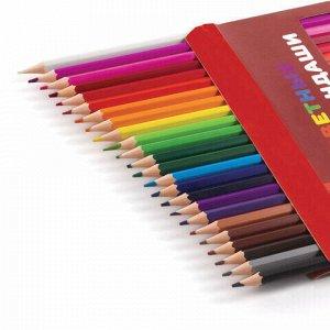 """Карандаши цветные ПИФАГОР """"ЖИРАФ"""", 24 цвета, пластиковые, классические заточенные, 181252"""