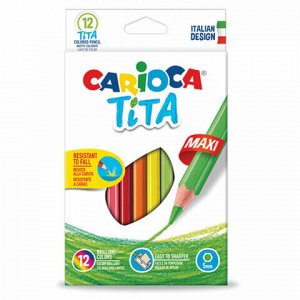 """Карандаши цветные утолщенные CARIOCA """"Tita Maxi"""", 12 цветов, пластиковые, шестигранные, 5 мм, 42789"""