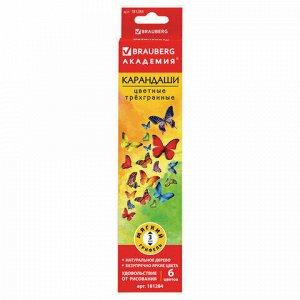 """Карандаши цветные BRAUBERG """"Бабочки"""", набор 6 цветов, трехгранные, корпус с полосками, 181284"""