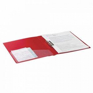 """Папка с боковым металлическим прижимом и внутренним карманом BRAUBERG """"Contract"""", красная, до 100 л., 0,7 мм, бизнес-класс, 221788"""