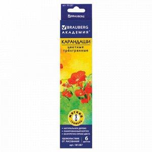 """Карандаши цветные BRAUBERG """"Цветы"""", набор 6 цветов, трехгранные, лакированное дерево, 181287"""
