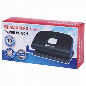 """Дырокол BRAUBERG """"Extra"""", до 10 листов, черный, 229090"""