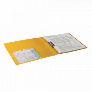 """Папка с боковым металлическим прижимом и внутренним карманом BRAUBERG """"Contract"""", желтая, до 100 л., 0,7 мм, бизнес-класс, 221790"""