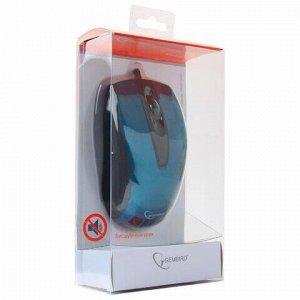 Мышь проводная бесшумная GEMBIRD MOP-405-B, USB, 2 кнопки+1 колесо-кнопка, оптическая, металлик синяя