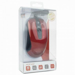 Мышь проводная бесшумная GEMBIRD MOP-400-R, USB, 2 кнопки + 1 колесо-кнопка, красная