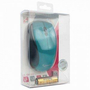 Мышь беспроводная GEMBIRD MUSW-320-B, 2 кнопки + 1 колесо-кнопка, бирюзовая
