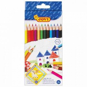 Карандаши цветные JOVI (Испания) 12 цветов, шестигранные, заточенные, картонная упаковка, 730/12