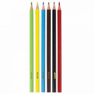 """Карандаши цветные ПИФАГОР """"ЛЕСНЫЕ ЖИТЕЛИ"""", 6 цветов, пластиковые, классические заточенные, 181333"""