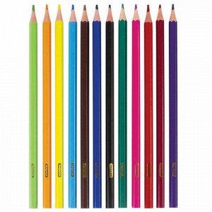 """Карандаши цветные ПИФАГОР """"ЛЕСНЫЕ ЖИТЕЛИ"""", 12 цветов, пластиковые, классические заточенные, 181334"""