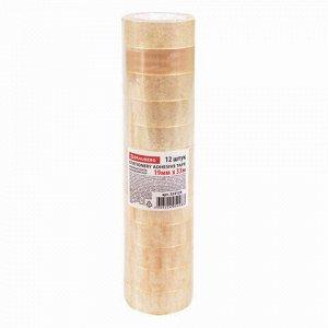 Клейкие ленты 19 мм х 33 м канцелярские BRAUBERG, комплект 12 шт., прозрачные, 223125