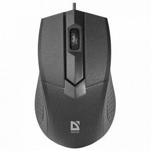 Мышь проводная DEFENDER Optimum MB-270, USB, 2 кнопки + 1 колесо-кнопка, оптическая, черная, 52270