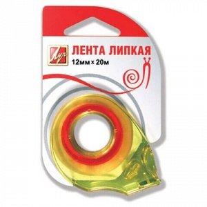 Клейкая лента канцелярская 12 мм х 20 м, прозрачная, в диспенсере, европодвес, ЛУЧ, 18С 1226-08