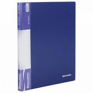 Папка 20 вкладышей BRAUBERG стандарт, синяя, 0,6 мм, 221595
