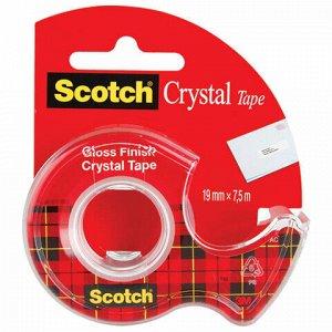 """Клейкая лента канцелярская 19 мм х 7,5 м, прозрачная, в диспенсере, 50 мкм, SCOTCH """"Crystal"""", 61975D-RUS"""