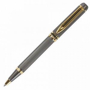 """Ручка подарочная шариковая GALANT """"Dark Chrome"""", корпус матовый хром, золотистые детали, пишущий узел 0,7 мм, синяя, 140397"""