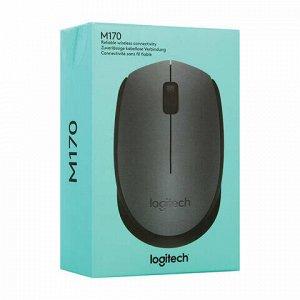 Мышь беспроводная LOGITECH M170, 2 кнопки + 1 колесо-кнопка, оптическая, черная, 910-004642