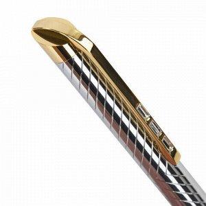 """Ручка подарочная шариковая GALANT """"Barendorf"""", корпус серебристый с гравировкой, золотистые детали, пишущий узел 0,7 мм, синяя, 141011"""