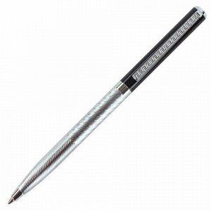 """Ручка подарочная шариковая GALANT """"Landsberg"""", корпус серебристый с черным, хромированные детали, пишущий узел 0,7 мм, синяя, 141013"""