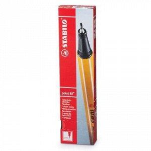"""Ручка капиллярная (линер) STABILO """"Point"""", КРАСНАЯ, корпус оранжевый, толщина письма 0,4 мм, 88/40"""