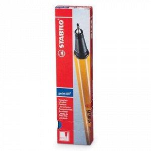 """Ручка капиллярная (линер) STABILO """"Point"""", СИНЯЯ, корпус оранжевый, линия письма 0,4 мм, 88/41"""