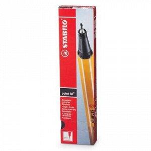 """Ручка капиллярная (линер) STABILO """"Point"""", ЧЕРНАЯ, корпус оранжевый, линия письма 0,4 мм, 88/46"""