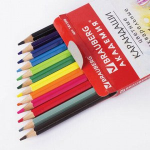 """Карандаши цветные акварельные BRAUBERG """"АКАДЕМИЯ"""", 12 цветов, шестигранные, высокое качество, 181398"""
