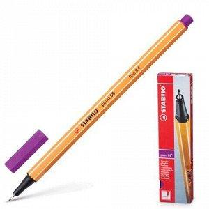 """Ручка капиллярная (линер) STABILO """"Point"""", СИРЕНЕВАЯ, корпус оранжевый, линия письма 0,4 мм, 88/58"""