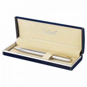 """Ручка подарочная шариковая GALANT """"Marburg"""", корпус серебристый с гравировкой, золотистые детали, пишущий узел 0,7 мм, синяя, 141015"""