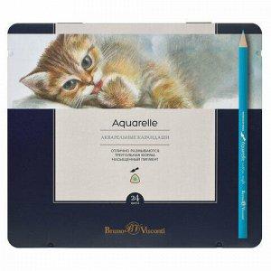 Карандаши цветные акварельные BRUNO VISCONTI Aquarelle, 24 цвета, металлический пенал, 30-0064