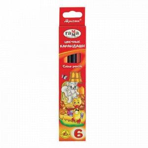 """Карандаши цветные ГАММА """"Мультики"""", 6 цветов, заточенные, трехгранные, картонная упаковка, 05091806, 050918_06"""