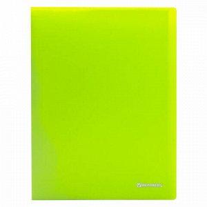 """Папка 20 вкладышей BRAUBERG """"Neon"""", 16 мм, неоновая, зеленая, 700 мкм, 227448"""