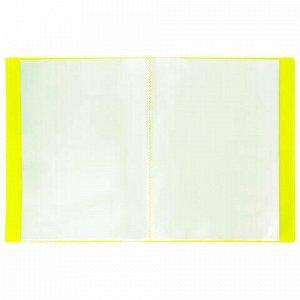 """Папка 20 вкладышей BRAUBERG """"Neon"""", 16 мм, неоновая желтая, 700 мкм, 227449"""
