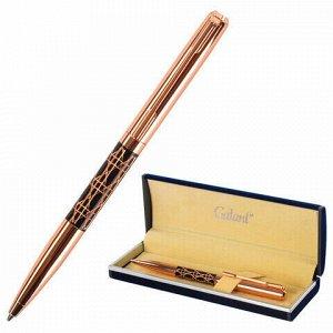 """Ручка подарочная шариковая GALANT """"Interlaken"""", корпус золотистый с черным, золотистые детали, пишущий узел 0,7 мм, синяя, 141663"""