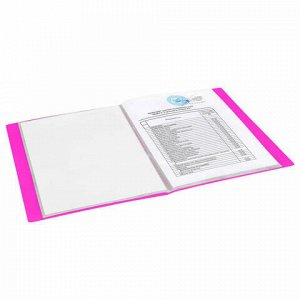 """Папка 20 вкладышей BRAUBERG """"Neon"""", 16 мм, неоновая розовая, 700 мкм, 227450"""