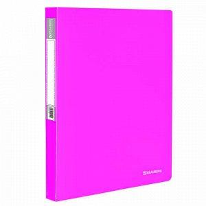 """Папка 40 вкладышей BRAUBERG """"Neon"""", 25 мм, неоновая розовая, 700 мкм, 227454"""