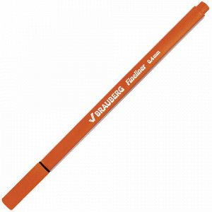 """Ручка капиллярная (линер) BRAUBERG """"Aero"""", ОРАНЖЕВАЯ, трехгранная, металлический наконечник, линия письма 0,4 мм, 142249"""