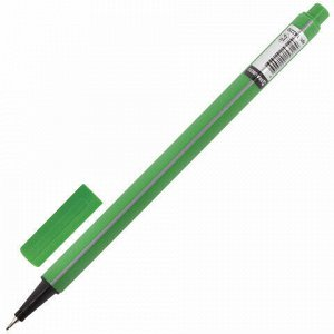 """Ручка капиллярная (линер) BRAUBERG """"Aero"""", СВЕТЛО-ЗЕЛЕНАЯ, трехгранная, металлический наконечник, линия письма 0,4 мм, 142250"""