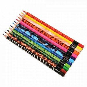 """Карандаши цветные MAPED (Франция) """"Color'Peps Animals'"""", 12 цветов, трехгранные, заточенные, европодвес, 832212"""