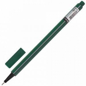 """Ручка капиллярная (линер) BRAUBERG """"Aero"""", ТЕМНО-ЗЕЛЕНАЯ, трехгранная, металлический наконечник, линия письма 0,4 мм, 142251"""