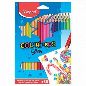 """Карандаши цветные MAPED (Франция) """"Color'Peps Star"""", 36 цветов, трехгранные, заточенные, европодвес, 832017"""