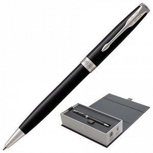 """Ручка шариковая PARKER """"Sonnet Core Lacquer Black CT"""", корпус черный глянцевый лак, палладиевые детали, черная, 1931502"""