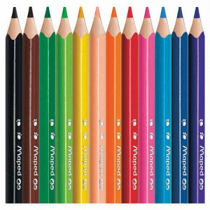"""Карандаши цветные MAPED (Франция) """"Pulse"""", 12 цветов, мини, пластиковые, трехгранные, заточенные, европодвес, 832752"""