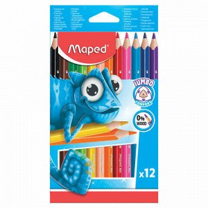 """Карандаши цветные утолщенные MAPED (Франция) """"Pulse"""", 12 цветов, пластик, трехгранные, заточенные, европодвес, 834352"""