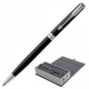 """Ручка шариковая PARKER """"Sonnet Core Lacquer Black CT Slim"""", тонкая, корпус черный глянцевый лак, палладиевые детали, черная, 1931503"""