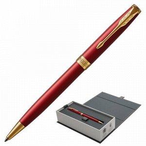 """Ручка шариковая PARKER """"Sonnet Core Intense Red Lacquer GT"""", корпус красный глянцевый лак, позолоченные детали, черная, 1931476"""