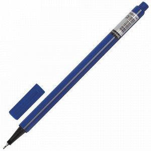 """Ручка капиллярная (линер) BRAUBERG """"Aero"""", СИНЯЯ, трехгранная, металлический наконечник, линия письма 0,4 мм, 142253"""